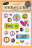Stickabilities Stickers - Peace Symbols and Hearts, Groovy, Love - free shipping