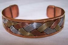 SOLID COPPER TRICOLOR CUFF HEALTH BRACELET men women healing arthritis pain