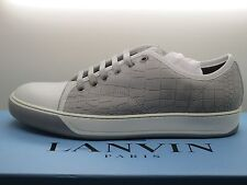 NEW Lanvin Men's Cap-Toe Pale Grey Leather Low-Top Sneakers Size 6 UK 7 US
