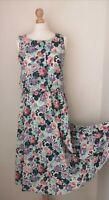 VINTAGE Womens Dress Size 12 Rose Print Floral Pattern Tea Dress 1970s Stretch