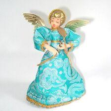 Blue Brocade Christmas Angel Doll Tree Topper