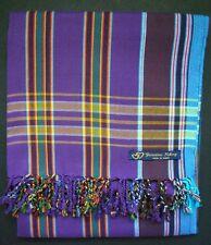 Kikoy Kikoi Purple Multi Stripe Africa Cotton Sarong Throw Scarf Kenya Swimwear