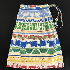 Vintage Jos A Bank Union Made Waist Apron Wrap size 4/6 Country Farm Cow Chicken