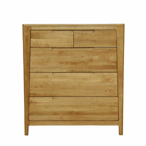 New Solid American Oak Timber 5 Drawer Tallboy / High Chest