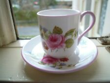 SHELLEY Miniature Cup & Saucer ~  No 13425 PINK TRIM.ROSE.POSSIBLY HAND PAINTED!