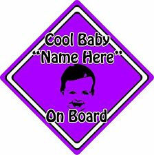 Personalised Cool Baby/Child On Board Car Sign ~ Baby Face Silhouette ~ Purple