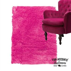 Contemporary Hot Pink Shag Rug, Plush Faux Fur, Suede Lining, Made in USA