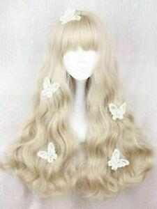 Sweet Lolita Wig Long Curly Blunt Fringe Light Blonde Heat Resistant Fiber Wigs