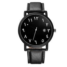 BAOSAILI Arab Numbers Scales Men Watch White Black PU leather  Wristwatches