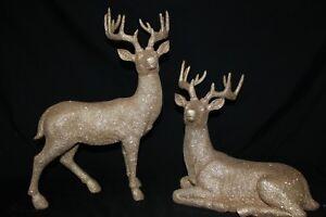 """Reindeer Statue Deer Statue New Set/2 Gold Glitter Christmas 18.5"""" Raz Imports"""