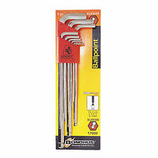 New 9pcs Metric Ball End Hex L-Key Long Wrench Set No.17099 with BriteGuard