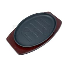 Cast Iron Pattern Sizzler Plate Sizzling Oval Steak Pan Wooden Trivet Grill Dish