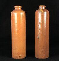 Antique Clay Mineral Water Seltzer Bottle Germany Salt Glazed Pair