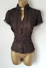 GOTHIC Brown Semi Sheer Highneck Blouse 14 16 Lace Victorian Vintage Steampunk