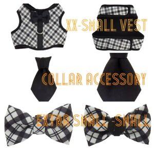 🐶Black & White Plaid Bow Tie Collar XS-S {Vest XX-Small} Collar Tie( Brand New)