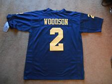 Charles Woodson #2 Michigan Wolverines STITCHED Blue Football Jersey Men L NEW!!