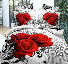 High Quality Red Rose Cotton Blend 3D Queen Size Bedding Set 4 Pcs