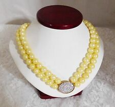 Avon Award Jewelry - 2005 President's Recognition Yellow Pearlesque Necklace