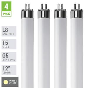 """4 Pack LED Tube L8 F8T5/30K 12"""" INCH 5W =8W G5 Mini 2-Pin Base 3000K Warm White"""