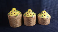 Vtg Ceramic Canister Yellow Daisy In a Basket  Hand Painted 3 Piece Set