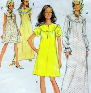 """Vintage 70s DRESS OR NIGHTDRESS Sewing Pattern Bust 34"""" 36"""" 87 92 cm RETRO Maxi"""