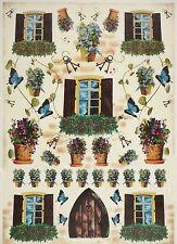 CIALDE di riso porte, finestre, fiore colorato per Decoupage Scrapbook Craft sheet