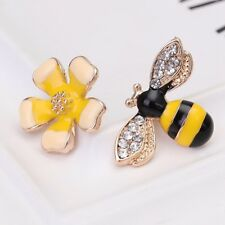 1 Pair Cute Rhinestone Yellow Flower Bees Insects Ear Studs Asymmetric Earrings