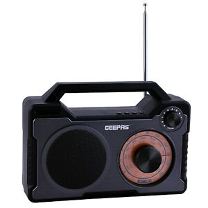 Geepas Retro Portable FM Radio Bluetooth USB Micro SD MP3 Player Rechargeable