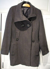 Womens XL GUESS Double-Breasted Wool-Blend Cowl-Neck Coat Black Gray Jacket XL