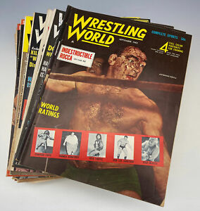 Vintage lot of 20 Wrestling World Mag 54-70 Rocca Gorilla Bruno Von Erich Sheik