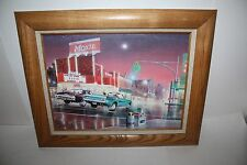 """12"""" x 16"""" CHEVY vs FORD STREET RACE ON CANVAS REPRODUCTION PRINT EUC"""