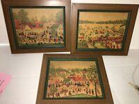 "Vtg (3) Americana E. Melvin Bolstad Framed Print 14""x12""  9 O'clock Express"