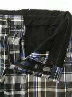 "Polo Golf Ralph Lauren 36 x 9.5"" Black Blue Plaid 100% Cotton Shorts"