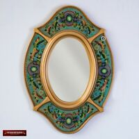 Turquoise Oval wall Mirror with gold color wood frame, Peruvian Accent Mirrors