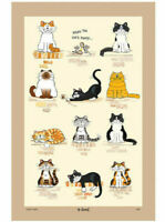 Funny Cat and Mice Tea Towel Printed Kitchen Towells Cotton Drying Cloths Towels