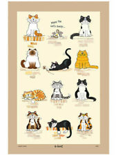 Funny Cat Tea Towel Printed Kitchen Towells Cotton Linen Drying Cloths Towels