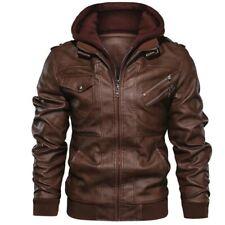 Outwear Anarchist Leather Jacket Hooded Motorcycle Coat Biker Style Men Jacket