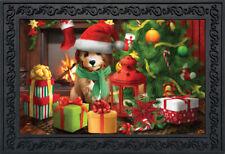 "Waiting For Santa Christmas Doormat Puppy Indoor Outdoor 18""x30"" Briarwood Lane"
