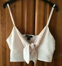 White Pink Polka Dot Cropped Tie Front Top Blouse Size 16 BNWT New