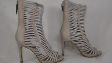 BCBGMAXAZARIA 'Ledder' Light Gray Caged Leather Bootie Sandal Women Size 5.5 M