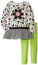Kids Headquarters Little Girls' Flower Print 2 Piece Legging Set Chartreuse 3-4t 4t