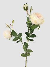 3 Head Artificial Ranunculus Rose Flower Stem x 62cm - Peach & Cream
