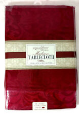 Tablecloth Burgundy Red Luxury 60 x 84 Scroll Pattern Polyester Fabric Rectangle
