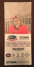 OTTAWA SENATORS VS MONTREAL CANADIENS OCTOBER 30, 2017 TICKET STUB
