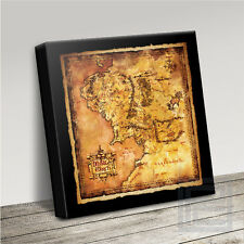 LORD OF THE RINGS HOBBIT SUPERB MIDDLE EARTH MAP ICONIC CANVAS ART PRINT PICTURE