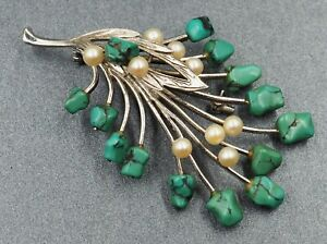 Turquoise & Cultured Pearl Womens Statement Brooch Sterling Silver Jewellery