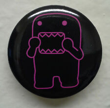"Frightened Purple Outline Domo kun 1.25"" Button Pin Scared ~ Officially Licensed"