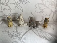 Delightful Vintage X4 Poodles Figurines/collectable Dogs Mini Ornaments