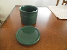 Longaberger Pottery Woven Traditions Ivy Green Salt Crock w/Coaster Lid 1 Pint
