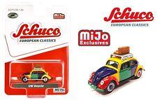 Schuco 4900 Volkswagen Beetle Kafer Harlekin w/ Roof Rack & Luggage 1/64 Diecast